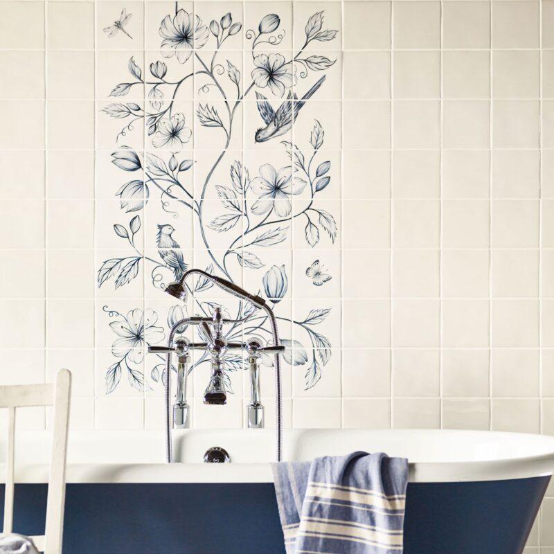 Botanical Blue håndlavet vægflise