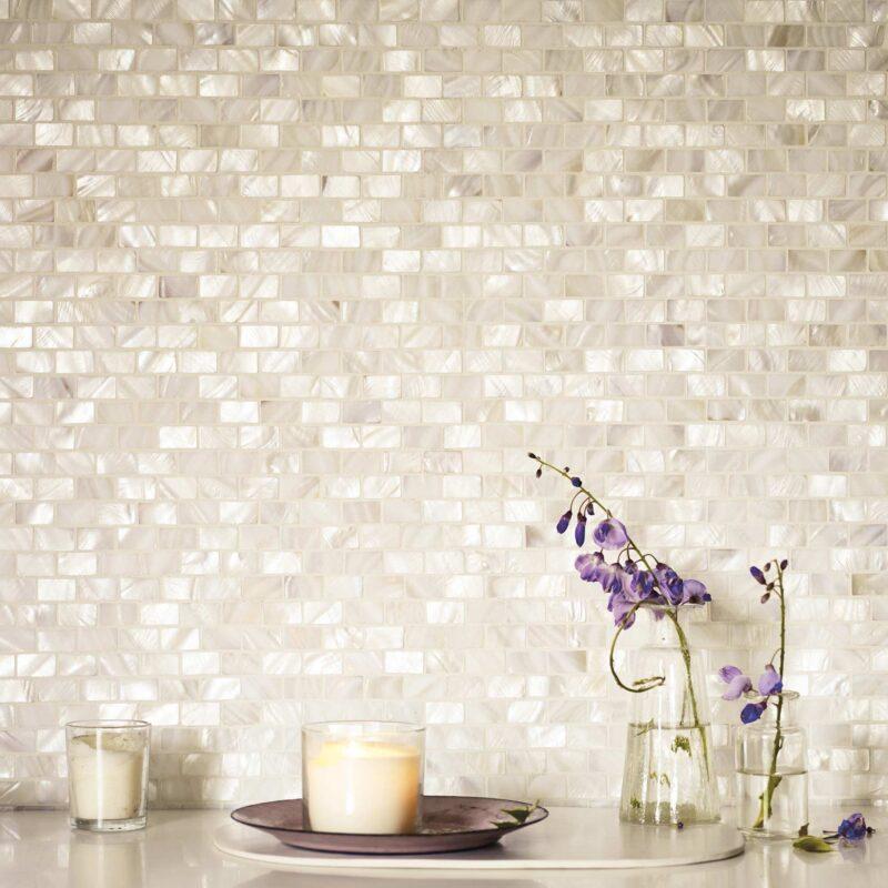 Mother of Pearl rektangulær hvid mosaik